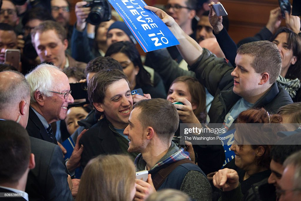 Bernie Sanders greets the crowd at Concord HS after winning NH.