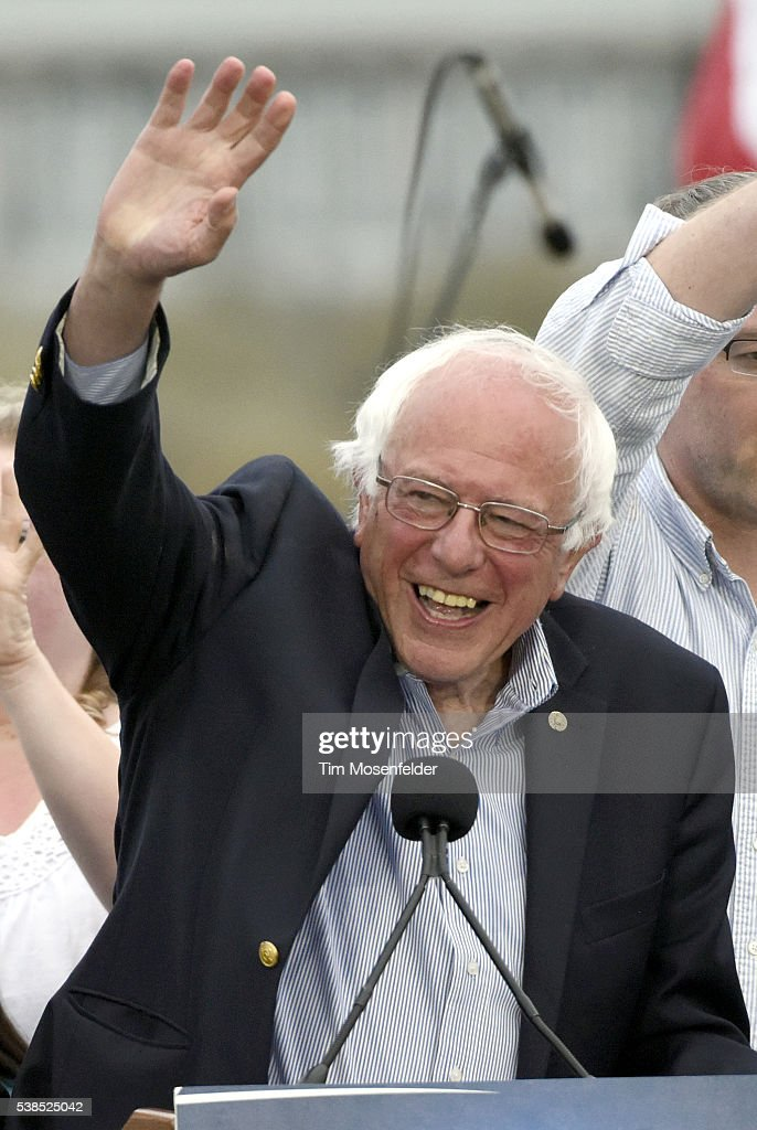 Bernie Sanders speaks at his A future to believe in San Francisco GOTV Concert at Crissy Field San Francisco on June 6, 2016 in San Francisco, California.