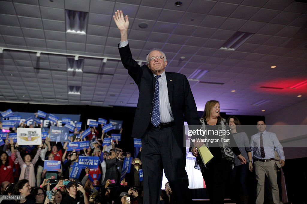 Bernie Sanders speaks to supporters after