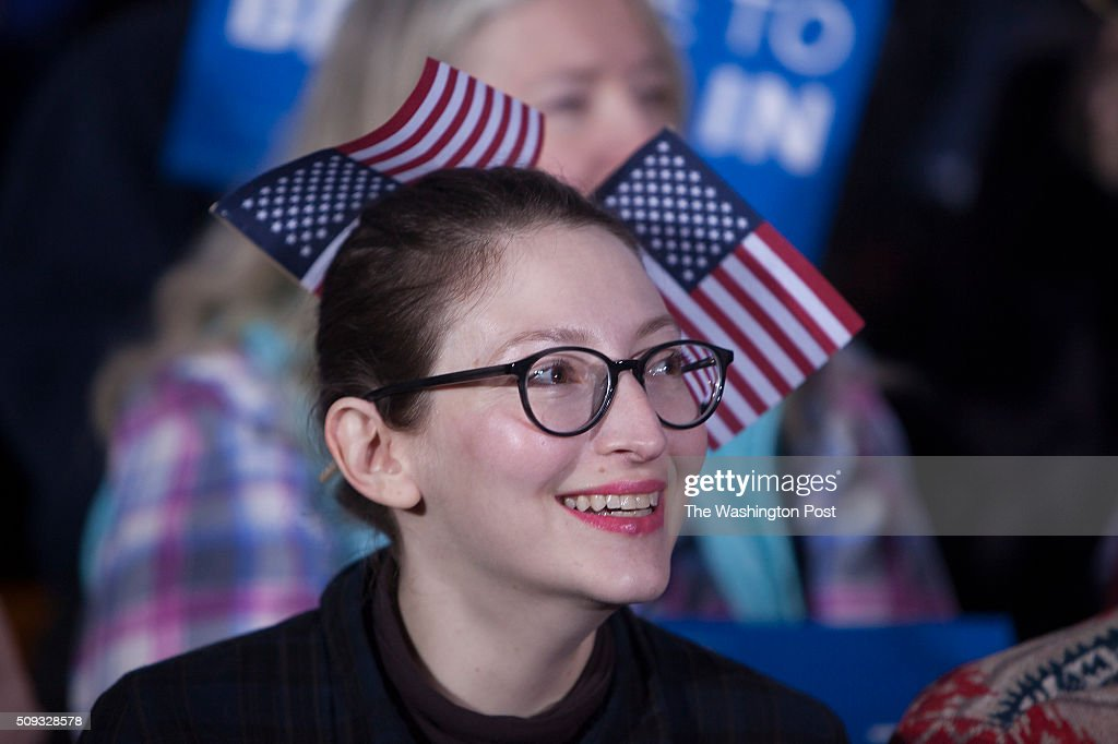 Bernie Sanders' supporter Anjuli Willmer (cq), who is from Los Angeles, anxiously waits for results at Concord HS, where Sanders is expected later tonight.