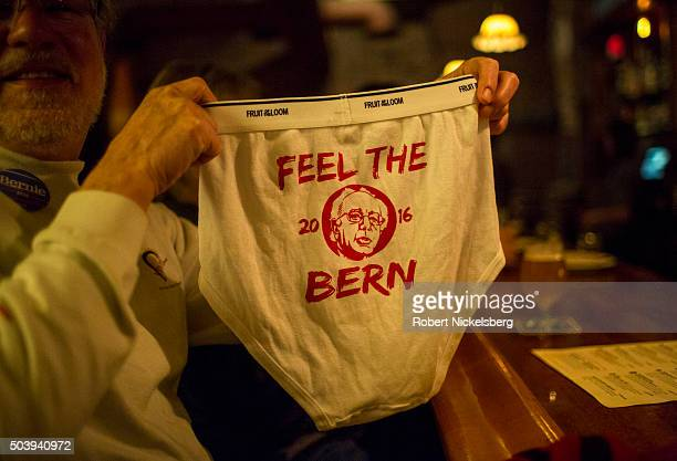 Bernie Sanders supporter holds up a pair of 'Bernie Briefs' in a local bar on January 7 2016 in Burlington Vermont The line to see Republican Party...