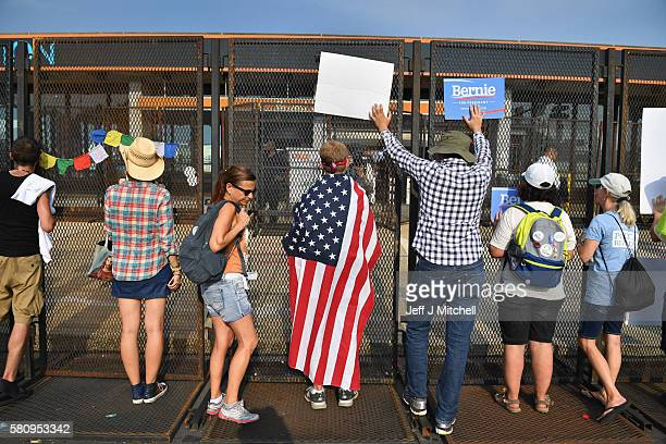 Bernie Sanders supporters gather at FDR park after marching through downtown on the first day of the Democratic National Convention on July 25 2016...