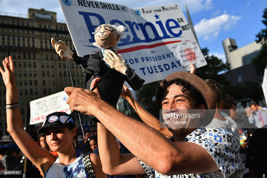 Bernie Sanders supporters gather near City Hall on day three of the Democratic National Convention (DNC) on July 27, 2016 in Philadelphia, Pennsylvania. The convention officially began on Monday and has attracted thousands of protesters, members of the media and Democratic delegates to the City of Brotherly Love.