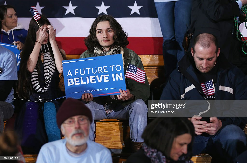 Bernie Sanders supporters wait for the Democratic presidential candidate's New Hampshire Primary Night watch party to begin February 9, 2016 in Concord, New Hampshire.