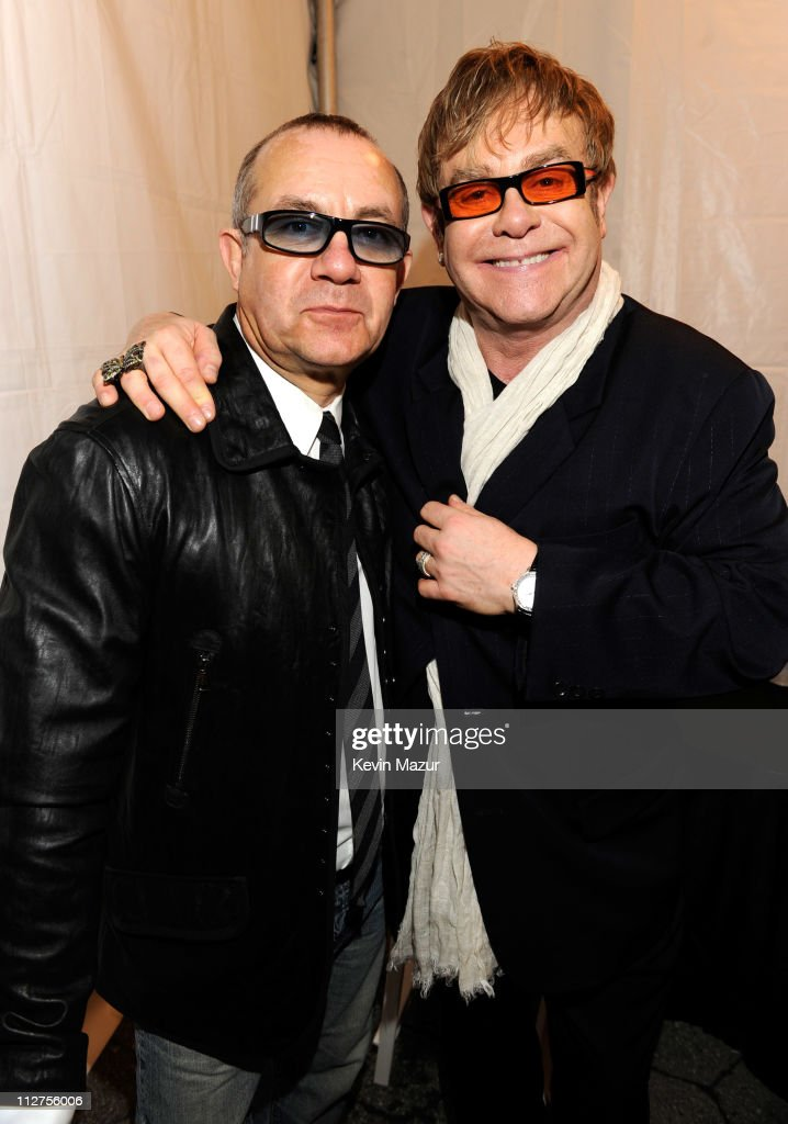 Bernie Taupin and Elton John attend opening night performance at 'The Union' premiere during the 10th annual Tribeca Film Festival at North Cove at World Financial Center Plaza on April 20, 2011 in New York City.