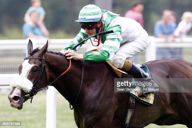 Bernie the Bolt ridden by Fran Berry goes on to win the St Hallett Shergar Cup Stayers Handicap during the Dubai Duty Free Shergar Cup day at Ascot...