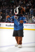 Bernie the mascot of the Colorado Avalanche skates after the game against the San Jose Sharks at the Pepsi Center on March 10 2013 in Denver Colorado...