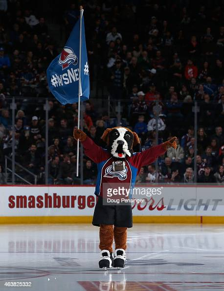 Bernie the mascot of the Colorado Avalanche takes the ice prior to facing the Los Angeles Kings at Pepsi Center on February 18 2015 in Denver...