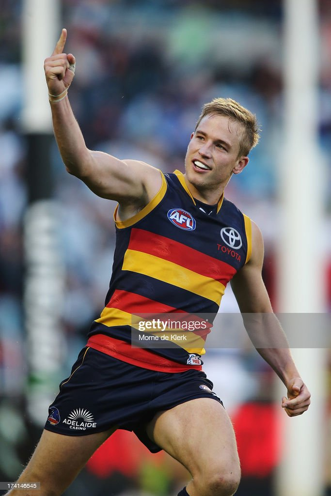 Bernie Vince of the Crows celebrates after kicking a goal during the round 17 AFL match between the Adelaide Crows and the Geelong Cats at AAMI Stadium on July 21, 2013 in Adelaide, Australia.