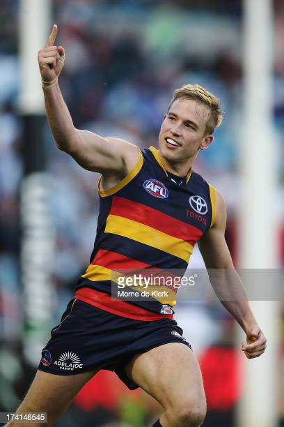 Bernie Vince of the Crows celebrates after kicking a goal during the round 17 AFL match between the Adelaide Crows and the Geelong Cats at AAMI...