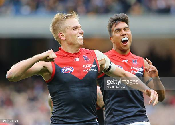 Bernie Vince of the Demons celebrates after kicking a goal during the round nine AFL match between the Richmond Tigers and the Melbourne Demons at...