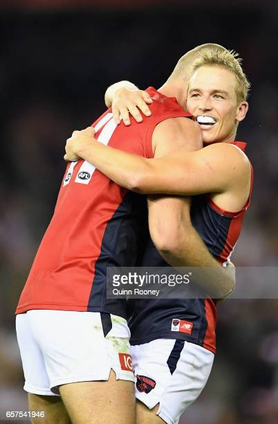 Bernie Vince of the Demons is congratulated by Max Gawn of the Demons after kicking a goal during the round one AFL match between the St Kilda Saints...
