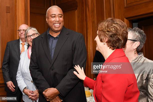 Bernie Williams and Rep Suzanne Bonamici attend the CMA NAMM VH1 Congressional Reception for Music Education at the US Capitol on May 25 2016 in...