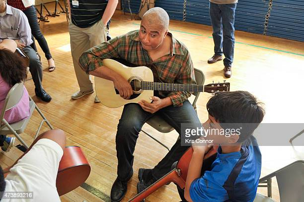 Bernie Williams attends the Music Industry Leaders And Artists Bring Music event at Bancroft Elementary School as part of Namm's DC Flyin on May 18...