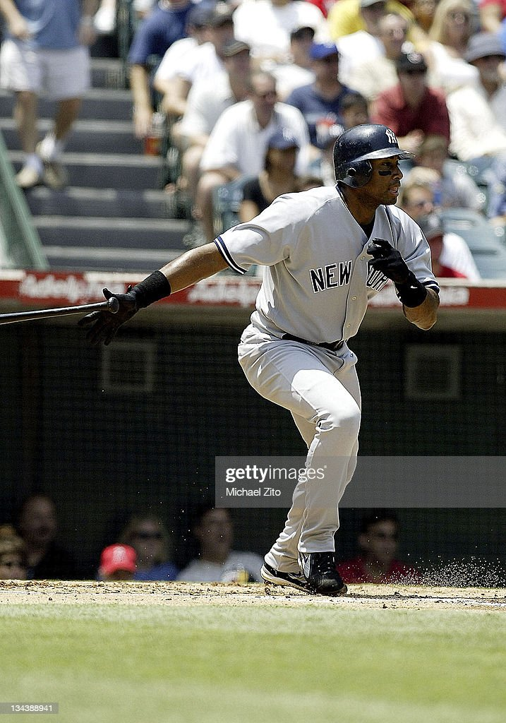 <a gi-track='captionPersonalityLinkClicked' href=/galleries/search?phrase=Bernie+Williams&family=editorial&specificpeople=175814 ng-click='$event.stopPropagation()'>Bernie Williams</a> in action vs the Angels during New York Yankees vs. the California Angels at Edison Field in Anaheim, California, United States.