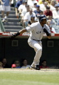 Bernie Williams in action vs the Angels during New York Yankees vs the California Angels at Edison Field in Anaheim California United States