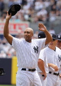 Bernie Williams is introduced during The New York Yankees 65th Old Timers Day game on June 26 2011 at Yankee Stadium in the Bronx borough of New York...