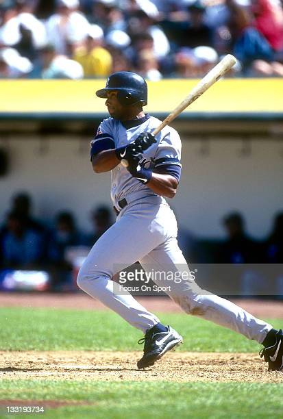 Bernie Williams of the New York Yankees bats against the Oakland Athletics during an Major League Baseball game circa 1997 at the OaklandAlameda...