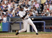 Bernie Williams of the New York Yankees during a game against the Chicago Cubs at Yankee Stadium in the Bronx New York on Saturday June 18 2005 The...