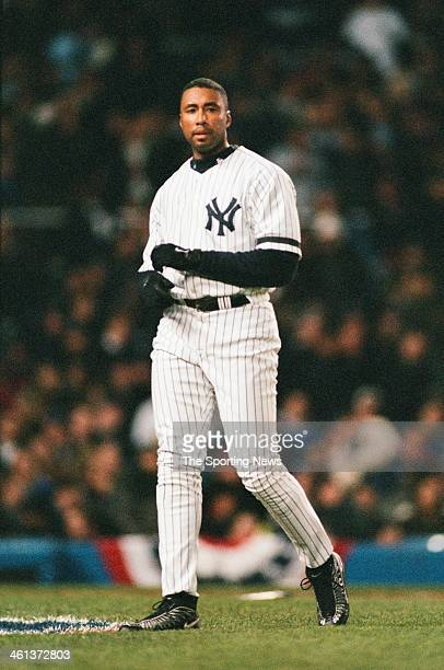 Bernie Williams of the New York Yankees during Game One of the American League Championship Series against the Seattle Mariners on October 10 2000 at...