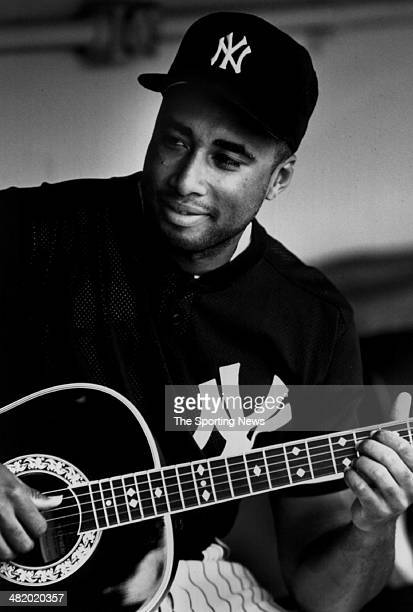 Bernie Williams of the New York Yankees plays the guitar circa 1990s