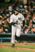 Bernie Williams of the New York Yankees runs during Game Three of the World Series against the Atlanta Braves on October 26 1999 at Yankee Stadium in...