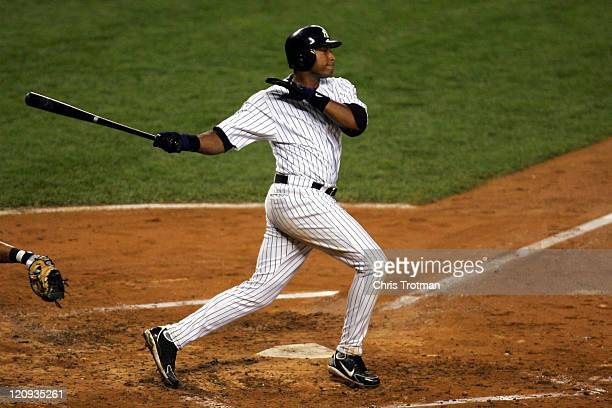 Bernie Williams of the New York Yankees swings in the 4th inning against the New York Mets at Yankee Stadium on June 30 2006 in New York The Yankees...