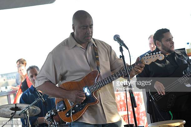 Bernie Williams performs with his band during the 101 Constitution Rooftop party at Nelson Mullins as part of 'Music Industry Leaders And Artists...