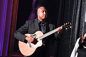 Bernie Williams performs with students from 'TURNAROUND ARTS BRIDGEPORT' which included Barnum School Hall School Hallen School Tisdale School and...