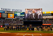 Bernie Williams speaks to the crowd during the ceremony to retire his number in Monument Park before the game against the Texas Rangers at Yankee...