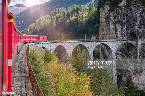 Bernina Express Rh��tische Bahn over Landwasser Viaduct Switzerland