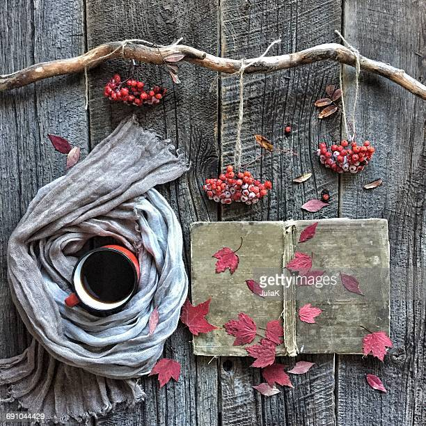 Berries, autumn leaves and coffee arrangement