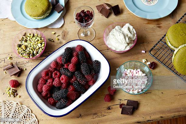 Berries, chocolate, pudding and nuts