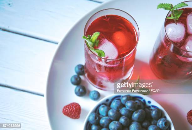 Berries with iced tea on table