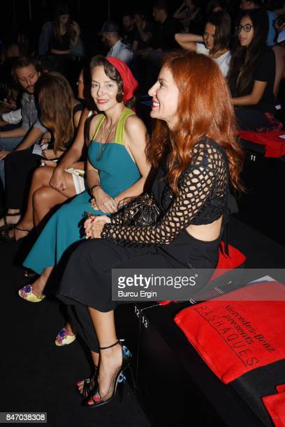 Berrin Okcu and Etel Baler are seen during MercedesBenz Istanbul Fashion Week September 2017 at Zorlu Center on September 14 2017 in Istanbul Turkey