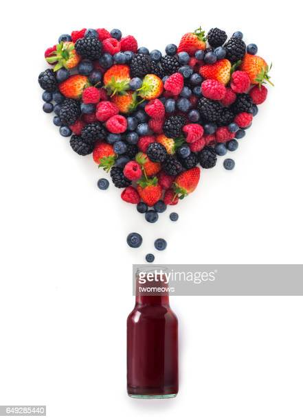 Berry fruit and juice conceptual image.