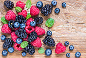 Berry fruits on rustic wood background text space.