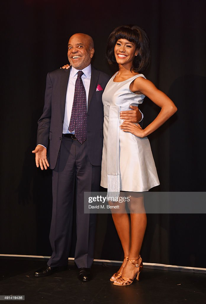 Berry Gordy (L) and cast member Lucy St Louis attend the 'Motown The Musical' photocall at The Hospital Club on October 5, 2015 in London, England.