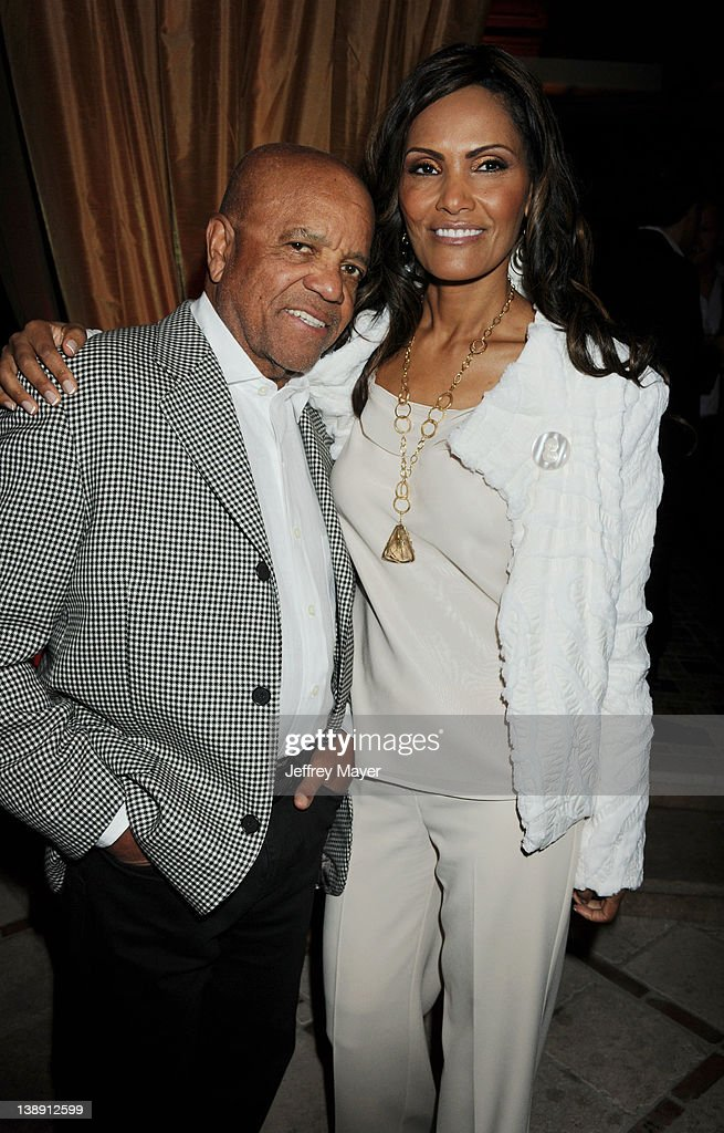 Berry Gordy and Eskedar Gobeze attend the Universal Music Group 54th Grammy Awards Viewing Reception hosted by Lucian Grainge at private residence on February 12, 2012 in Los Angeles, California.