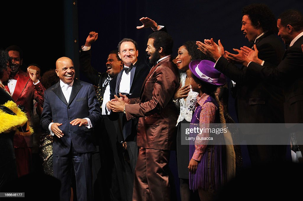 Berry Gordy and Kevin McCollum join actors Brandon Dixon and Valisia LeKae onstage at 'Motown: The Musical' Opening Night at Lunt-Fontanne Theatre on April 14, 2013 in New York City.