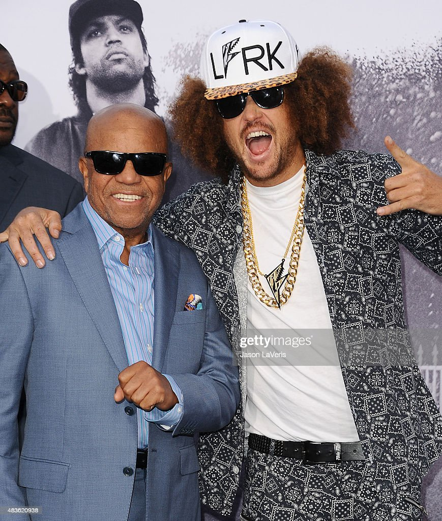 Berry Gordy and Redfoo attend the premiere of 'Straight Outta Compton' at Microsoft Theater on August 10, 2015 in Los Angeles, California.