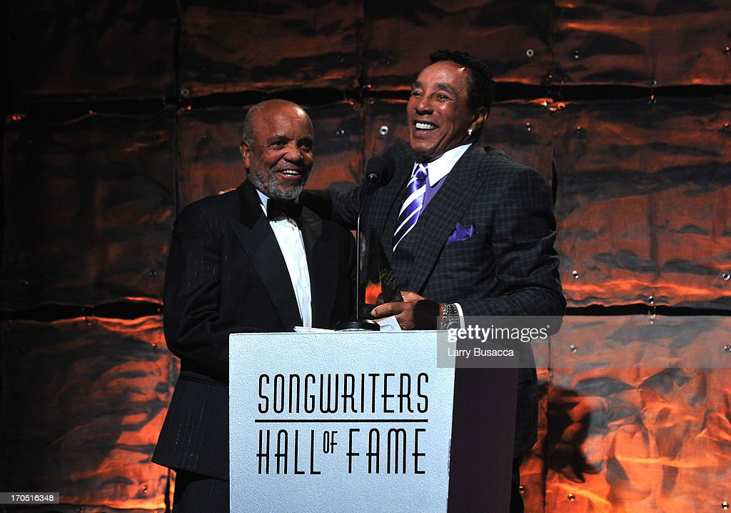 Berry Gordy and Smokey Robinson speak at the Songwriters Hall of Fame 44th Annual Induction and Awards Dinner at the New York Marriott Marquis on June 13, 2013 in New York City.