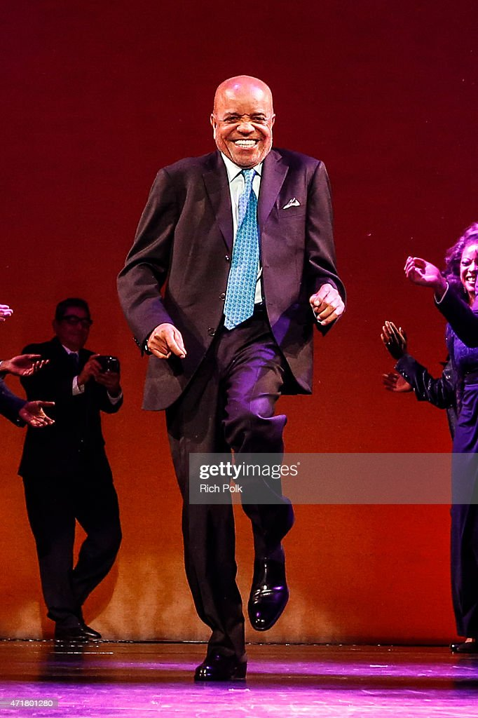 Berry Gordy dances on stage with the cast at 'MOTOWN THE MUSICAL' at the Pantages Theatre on April 30 2015 in Hollywood California