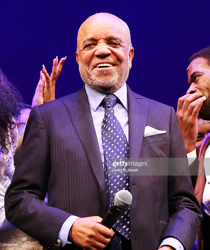 Berry Gordy, founder of the Motown record label, speaks during the curtain call at the press night performance of 'Motown The Musical' at The Shaftesbury Theatre on March 8, 2016 in London, England.