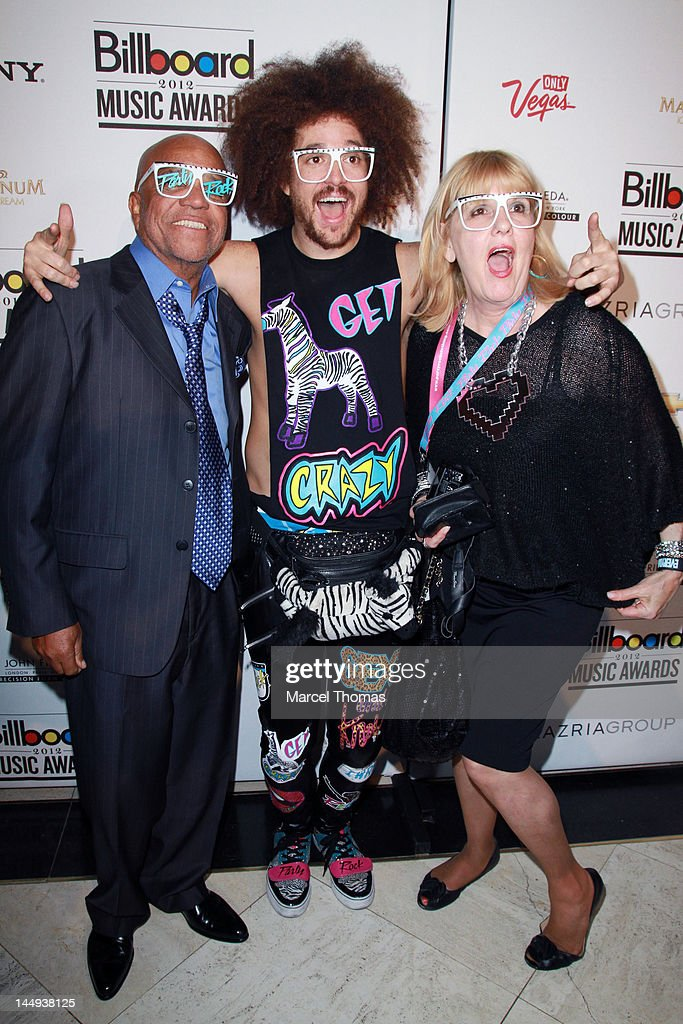 Berry Gordy, son Stefan Kendal Gordy AKA RedFoo, and RedFoo's mom Nancy Leiviska attend the 2012 Billboard Music Awards Oficial After-party at 1 Oak on May 20, 2012 in Las Vegas, Nevada.