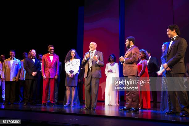 Berry Gordy with the cast of 'Motown the Musical' at The Fisher Theatre on April 19 2017 in Detroit Michigan