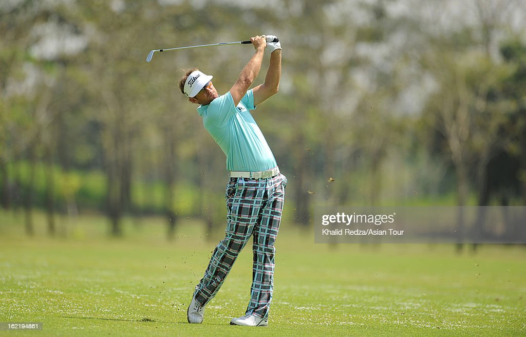 Berry Henson of USA plays a shot during previews ahead of the Zaykabar Myanmar Open at the Royal Mingalardon Golf and Country Club on February 20, 2013 in Yangon, Burma.
