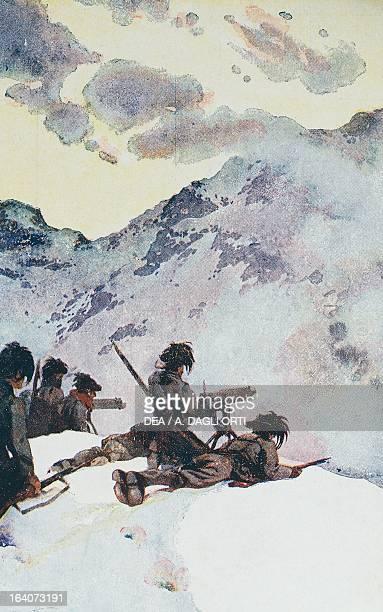 Bersaglieri in the mountains Italian propaganda postcard from the Bersaglieri series No 2 World War I Italy 20th century Rovereto Castello Museo...