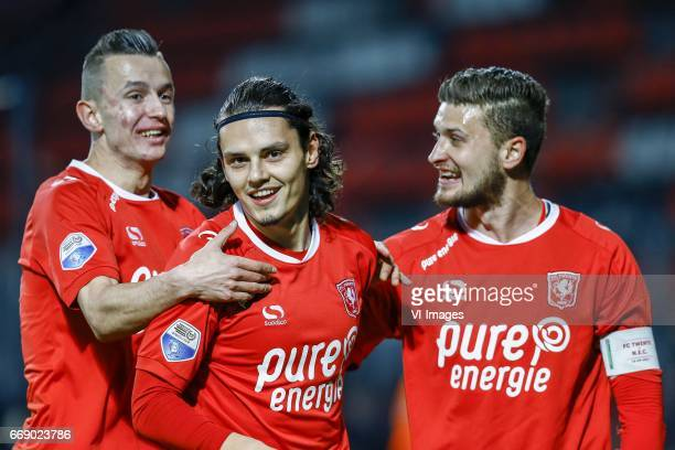 Bersant Celina of FC Twente Enes Unal of FC Twente Mateusz Klich of FC Twenteduring the Dutch Eredivisie match between FC Twente and NEC Nijmegen at...
