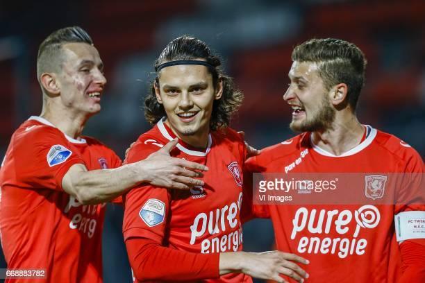Bersant Celina of FC Twente Enes Unal of FC Twente scored Mateusz Klich of FC Twenteduring the Dutch Eredivisie match between FC Twente and NEC...